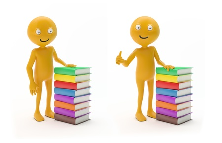 Smiley characters next to a stack of books photo