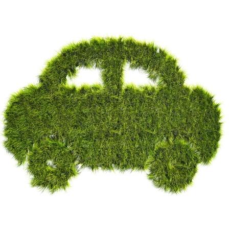 biofuel: Car shaped grass patch - ecological transport concept
