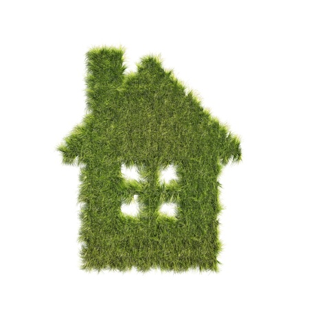 built: Isolated House shaped grass patch