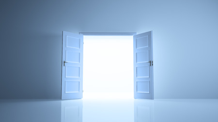 room door: Abstract room with open doors image Stock Photo