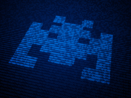 malicious software: Internet security and malware concept illustration -  symbol made out of binary code Stock Photo