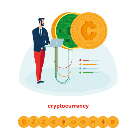 Mining and works with cryptocurrencies such as bitcoin and ethereum. Image suitable for illustration of mining and settings work with cryptocurrencies. A set of icons of all major cryptocurrencies.