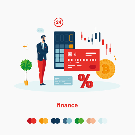 Illustrates the financial sector. Finance set with card, coin, calculator, clock, percent 일러스트