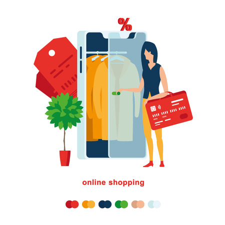 A woman opens smartphone to buy a yellow cloak. Illustration of online shopping from a smartphone. A woman opens smartphone to buy a yellow cloak.