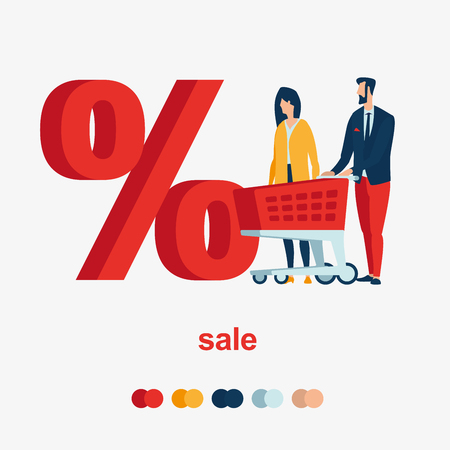 A man and a woman with a red basket in front of a large percentage. Illustrates sales discounts.