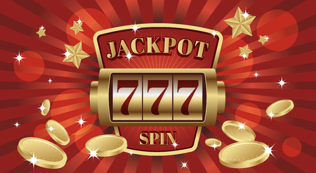 777 jackpot win screen slot mashine. Red and gold background color. Editable objects in layers. Make gif, movie animation or static composition.