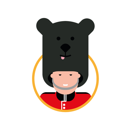 Cartoon British soldier in a bear hat. Funny cartoon British soldier bearskin head in circle.