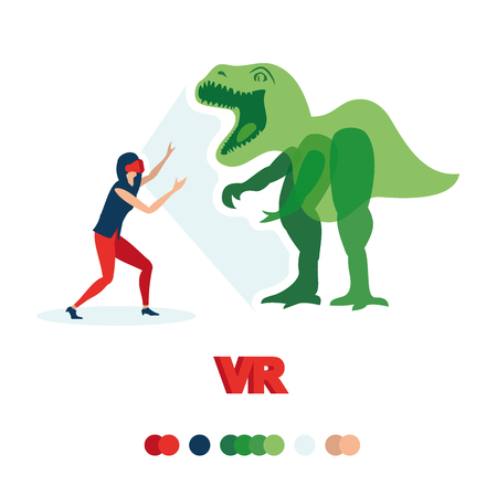 Girl sees a dinosaur. VR glasses. Illustrates the technology of virtual reality. Glasses, games and so on.