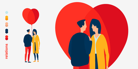 A young couple in a relationship are close to each other. Red balloons as a sign of the heart. Loving couple. Air baloon. Illustration