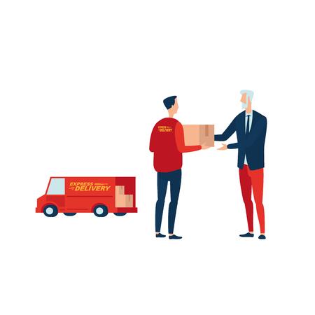 Entrega urgente. Courier pasa el paquete al cliente. Ilustra el servicio de entrega rápida de mano en mano. Ilustración de vector