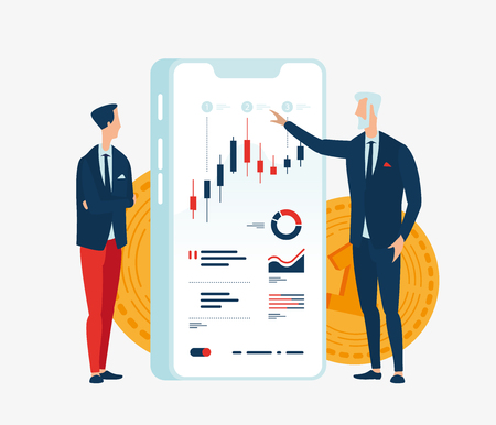 Vector illustration of two businessmen financiers in front of the screen gadget with graphs of financial indicators. To illustrate financial articles, reports, blogs, news for posting on websites and in print media.