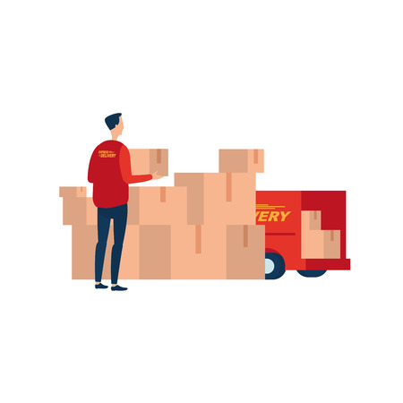 Express delivery. Courier with a box at the pile of parcels. Illustrates the fast delivery service.