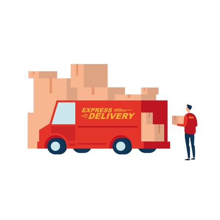 Livraison express. Courrier avec une boîte à la voiture. Illustre le service de livraison rapide.