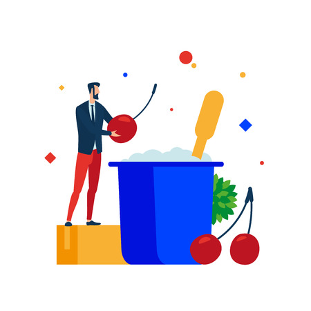 Creating yogurt. The man who puts cherries in the yogurt recipe. Vector illustration. Separate objects.