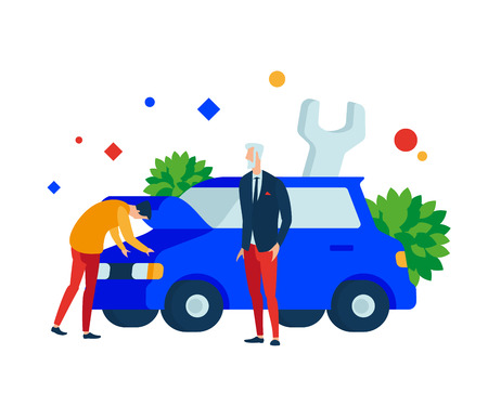 Express car repairs. A person looks under the hood in the engine compartment of the car. Vector illustration. Separate objects. To illustrate articles, reports, blogs, news for posting on websites and print media. Illustration