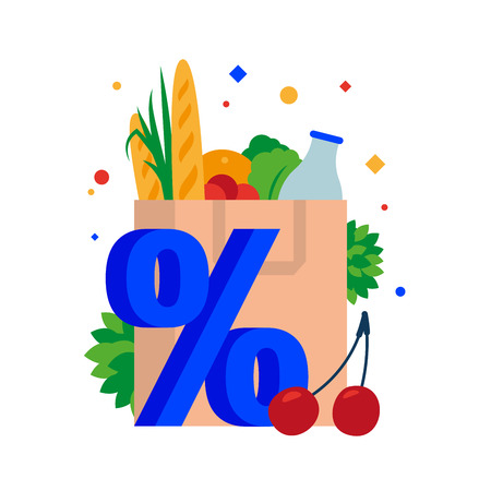 Paper bag with groceries. Bag with shopping, bread, milk, herbs, vegetables and fruits at a discount. Vector illustration. Separate objects. To illustrate articles, reports, blogs, news for posting on websites and print media. Çizim