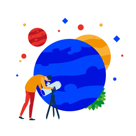 Planet in a telescope. A person looks through a telescope at the planet. Vector illustration. Separate objects. To illustrate articles, reports, blogs, news for posting on websites and print media.