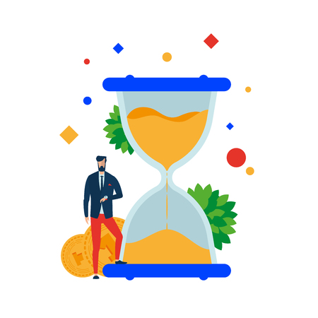 Time is money. Businessman at the hourglass. Vector illustration. Separate objects. To illustrate articles, reports, blogs, news for posting on websites and print media. Illustration