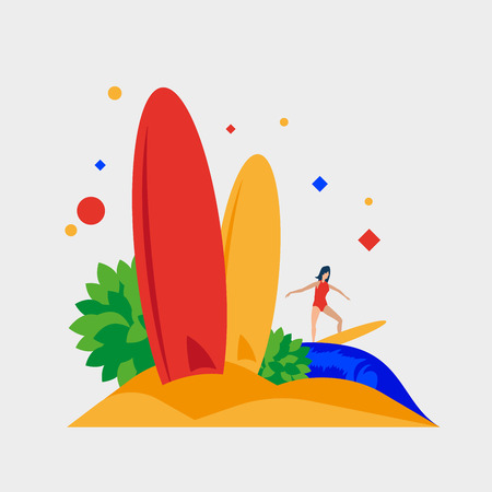 Beach surfboard. Summer, beach and surfing. Vector illustration. Separate objects. To illustrate articles, reports, blogs, news for posting on websites and print media.