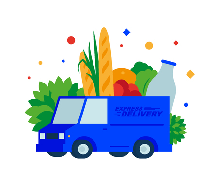 Food delivery. Fresh bread, herbs, fruits, vegetables, milk and drinks by truck. Vector illustration. Separate objects. To illustrate articles, reports, blogs, news for posting on websites and print media. Illustration