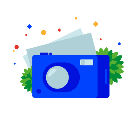 Flat digital camera. Vector illustration. Separate objects. To illustrate articles, reports, blogs, news for posting on websites and print media.