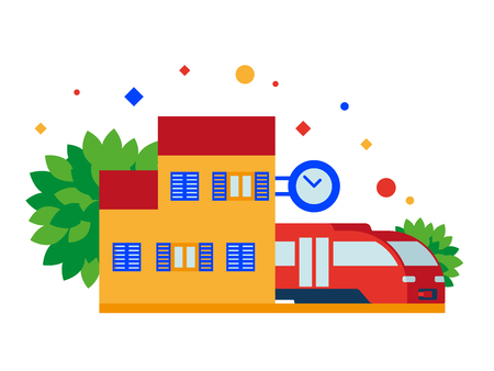 Train station. A small station with train and clock. Vector illustration. Separate objects. To illustrate articles, reports, blogs, news for posting on websites and print media.