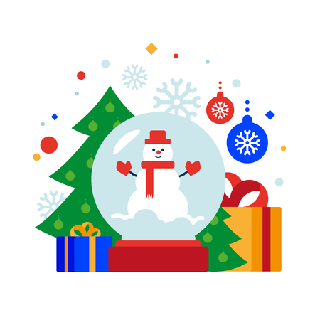Snow man globe. Christmas composition of snow globe, Christmas tree, gifts and balls. Vector illustration. Separate objects. Isolate. To illustrate articles, reports, blogs, news for posting on websites and print media. Illustration