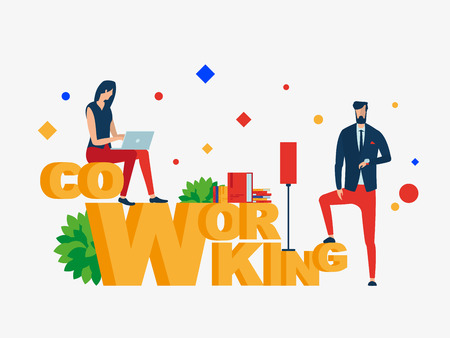 Co working. People In Creative Office. Vector illustration. Separate objects. Isolate. To illustrate articles, reports, blogs, news for posting on websites and print media. Illustration
