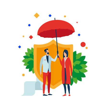 Insurance illustration. Man and woman under an umbrella on background of the shield. Separate objects. Isolate. Illustration