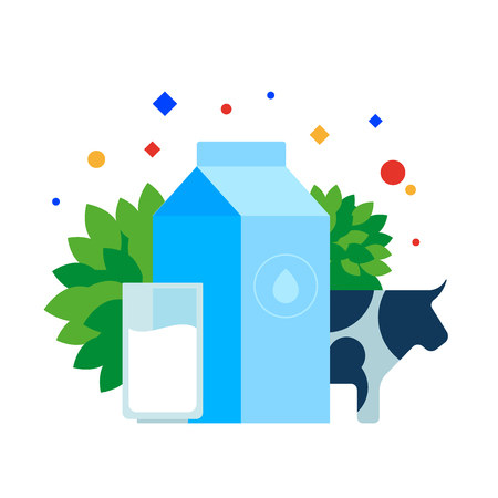 A packet of milk, a glass and a cow. Vector illustration. Separate objects. Isolate. Illustration