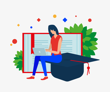 The girl with the notebook, open book and graduate's cap. Vector illustration. Separate objects. Isolate. Illustration