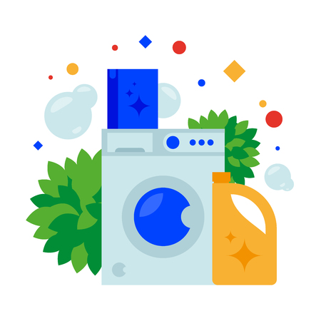 Washing machine, powder and fabric conditioner. Vector illustration. Separate objects. Isolate. Illustration