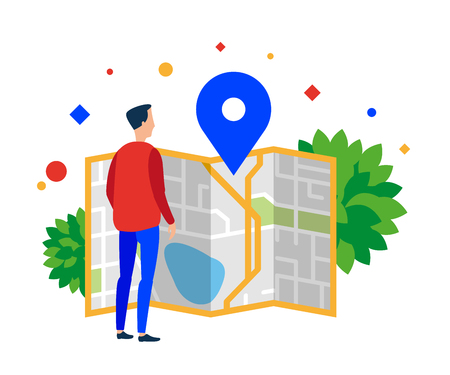 Man looking at a map of the city. Vector illustration. Separate objects. Isolate.