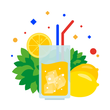 Lemonade in a glass with a tube and a slice of lemon. Vector illustration. Separate objects. Isolate.