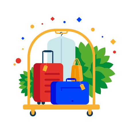 Luggage cart or hotel trolley with colored suitcases. Vector illustration. Separate objects. Isolate. Illustration