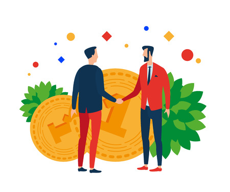 Men on the background of money shake hands. Vector illustration. Separate objects. Isolate.