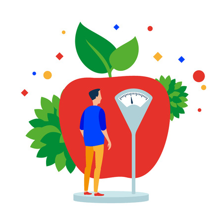 Man measures the weight before the apple. Vector illustration. Separate objects. Isolate. Illustration