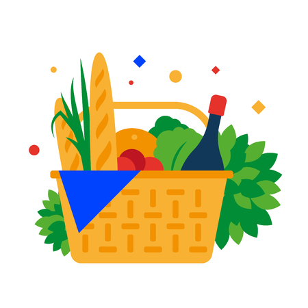 Picnic basket with baguette, fruit and drinks. Vector illustration. Separate objects. Isolate.