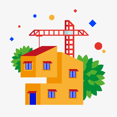 Building a house. Vector illustration. Separate objects. Isolate. Illustration
