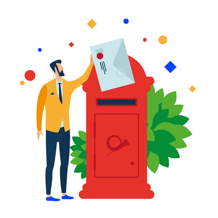 The man puts the letter in the mailbox. Vector illustration. Separate objects. Isolate.