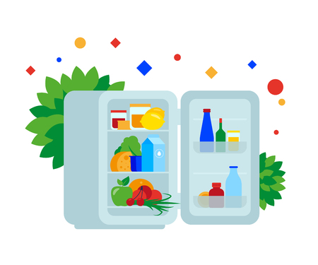 Fridge full of food. Vector illustration. Separate objects. Isolate.