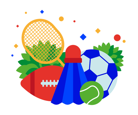 Sports equipment: soccer and tennis balls, badminton racket and shuttlecock. Vector illustration. Separate objects. Isolate.