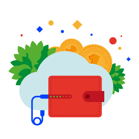 The e-wallet is connected to the cloud service for receiving and exchanging currencies. Vector illustration. Separate objects. Isolate. Illustration