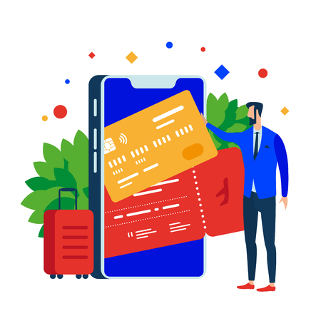 Put plastic cards and tickets in the mobile app. Smartphone and suitcase. Vector illustration. Separate objects. Isolate.