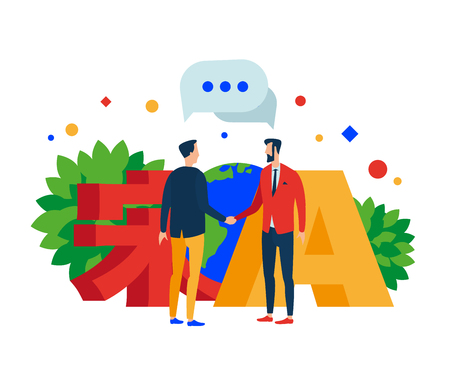 Communication in different languages. Two people shake hands. The character (song) and the letter A. Earth. Vector illustration. Separate objects. Isolate.