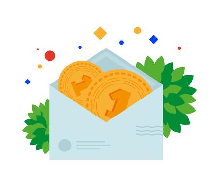 Invio di denaro per posta in una busta. Illustrazione vettoriale. Oggetti separati. Isolato.