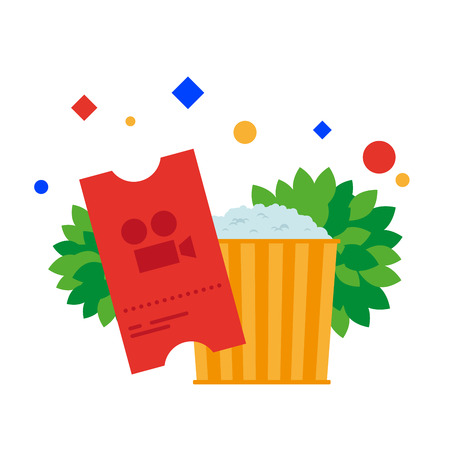 Cinema ticket and bucket of popcorn. Vector illustration. Separate objects. Isolate.