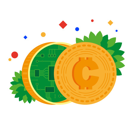 Electronic money. Coin with chip inside. Blockchain. Vector illustration. Separate objects. Isolate.