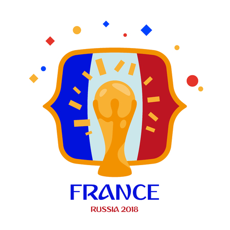 France is champion. Winner of the world football championship Russia 2018. Vector illustration. Separate objects. Isolate.