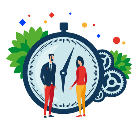 Working time. Two people, clock and gears. Vector illustration. Separate objects. Isolate.